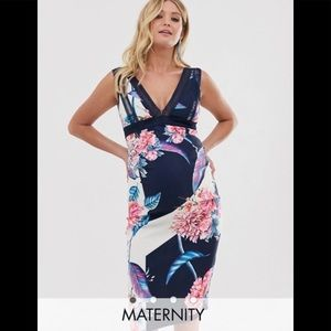 Little Mistress Maternity floral printed dress